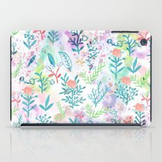 Hand drawn coral pink green watercolor floral iPad Case