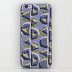 Blue Lino and Digital Pattern Print iPhone & iPod Skin