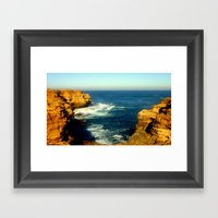 As the sunsets over the Limestone Cliffs Framed Art Print