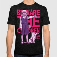 Beware the children...and the cats Mens Fitted Tee Tri-Black SMALL