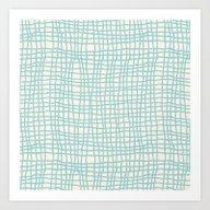 Blue Scribbles 06 Art Print