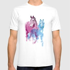 Two horses White SMALL Mens Fitted Tee