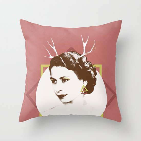 Elizabeth II : The Bold Throw Pillow