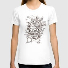 Howl's Moving Castle Pla… Womens Fitted Tee White SMALL
