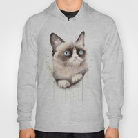 Grumpy Watercolor Cat Hoody