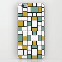 Yellow and Teal Bricks iPhone & iPod Skin