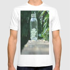 Queen Anne's Lace/Jar w/ bokeh White SMALL Mens Fitted Tee