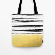 Blaire - Brushed Gold Stripes - black and gold, gold trend, gold phone case, gold cell case Tote Bag