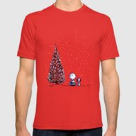 Merry Christmas Charlie … Mens Fitted Tee Red SMALL