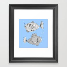blue fish square Framed Art Print