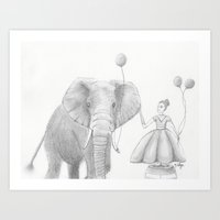 A girl and her elephant Art Print