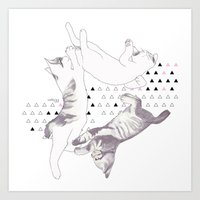 cat triangle  Art Print