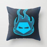 Hot Headed (Blue) Throw Pillow