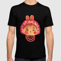 The Flower Crown Bunny SMALL Mens Fitted Tee Black