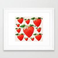 strawberry explosion Framed Art Print