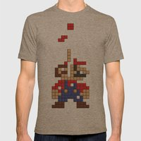 Super Mario Tetris Mens Fitted Tee Tri-Coffee SMALL