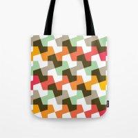 Mint green, orange & red pattern Tote Bag