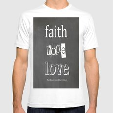 Faith, Hope and Love SMALL Mens Fitted Tee White
