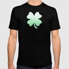 Gradient green and white swirls doodles SMALL Mens Fitted Tee Black