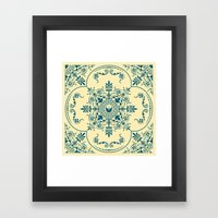 Decorative Pattern in Creme and Blue Framed Art Print