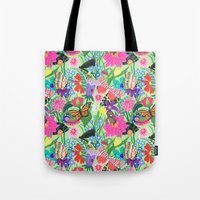 Butterfly and Moths Pattern - Green Tote Bag