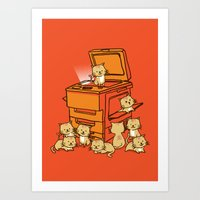 orange Art Prints featuring The Original Copycat by Picomodi