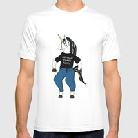Unicorn Vs. He-Man Mens Fitted Tee White SMALL
