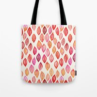 Watercolor Leaf Pattern in Autumn Colors Tote Bag