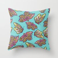 heart and butterflies Throw Pillow