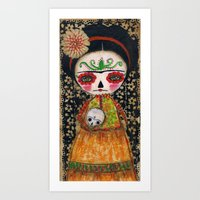 Frida The Catrina And The Skull - Dia De Los Muertos Mixed Media Art Art Print