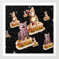 hot dog cat invasion Art Print