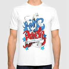 Let's Rock Around The World White Mens Fitted Tee SMALL