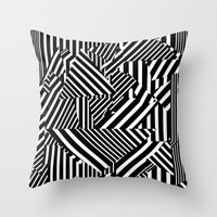 Dazzle Camo #01 - Black & White Throw Pillow