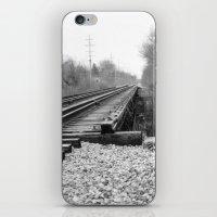 Railroad Tracks Black and White Photography iPhone & iPod Skin