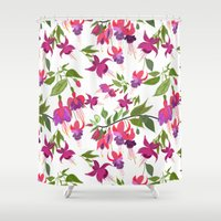 April blooms IV - Fuchsia White Shower Curtain