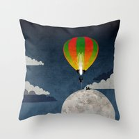 Picnic In A Balloon On T… Throw Pillow