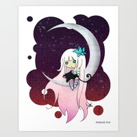 Silver Butterfly Moon Art Print