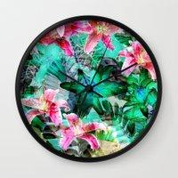 Jungle Lilies Wall Clock