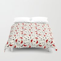Strange Red Flowers Patt… Duvet Cover