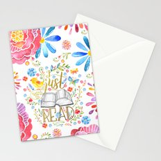 I Just Want To Read - White Floral Stationery Cards