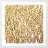 Gold & White Leaves Art Print