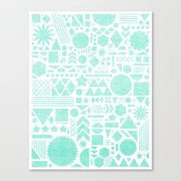 Modern Elements with Turquoise Canvas Print