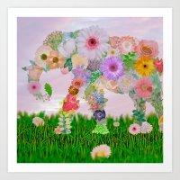 Elephant In My Garden Art Print