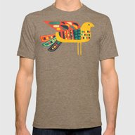 Century Bird Mens Fitted Tee Tri-Coffee LARGE