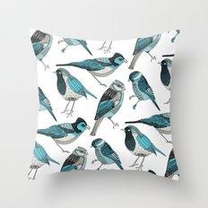 pale green birds Throw Pillow
