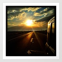 Leaving the sun behind. Art Print