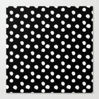 Brushy Dots pattern - Black Canvas Print