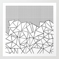 Abstract Outline Grid Black on White Art Print