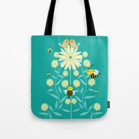 Bees, birds and flowers Tote Bag