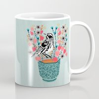 Tea and Flowers - Black and White Warbler by Andrea Lauren Mug